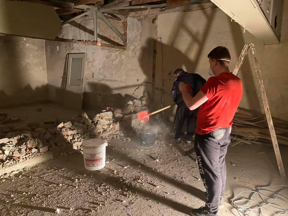 Dartzimmer während der Umbauphase
